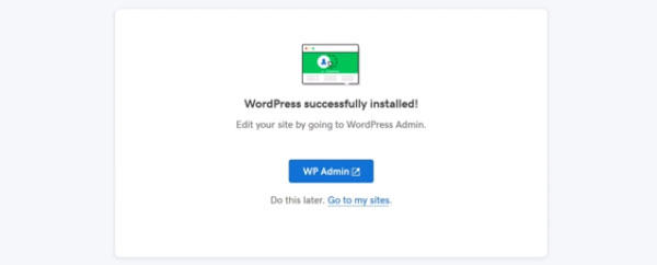 WordPress has been Successfuly installed